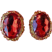 SALE Stunning Ruby Red Glass Earrings ~ 1950's