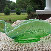 SALE Jefferson Glass Sea Spray Opalescent Handled Bowl~Circa 1906