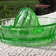 SALE Hazel Atlas Vaseline Glass Reamer/Juicer Circa 1930