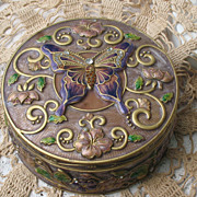 SOLD Ornate Enameled Heavy Gold Plate Jeweled Butterfly Casket~Large and Heavy``Free Shipping