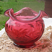 SALE Vintage Fenton Cranberry Rose Bowl