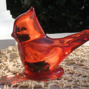 SALE Vintage Art Glass Ruby Bird