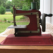 SALE Antique Red Junior Toy Sewing Machine~Working