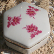 SALE Porcelain Hexagon Jewelry Casket Flower Motifs