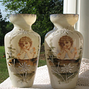 SALE English Edwardian Hand Painted Child Transfer Baluster Vases (Two Available)