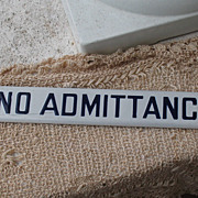 "SALE Vintage ""No Admittance"" Porcelain Sign Blue Lettering"