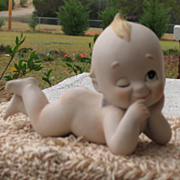 SALE Vintage Porcelain Kewpie Piano Baby~~Adorable with Blonde Lock of Hair