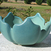 SALE Van Briggle Matt Blue Lotus Flower Bowl and Matching Frog