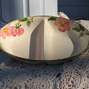Vintage Franciscan Earthenware Desert Rose Divided Serving Bowl
