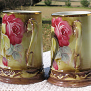 Vintage Hand Painted Porcelain Tankards Bright Roses~Set of Two