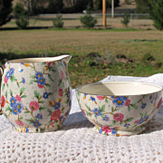 Vintage Royal Winton Grimwades Old Cottage Chintz Countess Creamer and Sugar