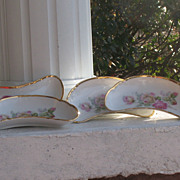 SALE Set of Six Germany Porcelain Bone Dishes Pink & White Roses Gold Trim