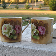 Vintage Lefton Porcelain Cups Hand Painted Cabbage Roses in Pink and White~Set of Two