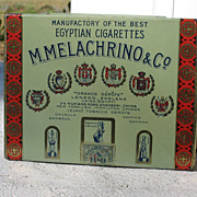 Vintage M. Melachrino & Co. Egyptian Cigarettes 100's With Stamp Tobacco Tin