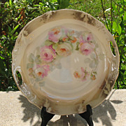 Vintage German Lusterware Pierced Handled Serving Plate