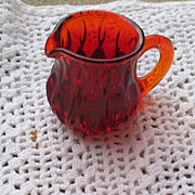 Vintage Pressed Glass Pair Ruby Red Small Pitcher and Ruby Red Toothpick Holder