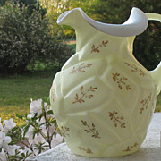 SALE English Hand Blown 1920s Hand Painted Opal Glass Pitcher