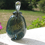 SOLD Studio Art Glass Large Perfume Bottle~~Signed