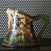 Vintage Mexican Pitcher with Engraved Forest Scene