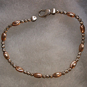 Italian Sterling Silver And Rose Gold Tone Bead Bracelet
