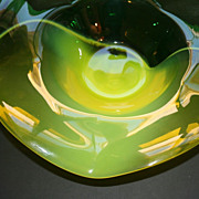 Large Blown Glass Art Bowl Bright Yellow and Green