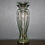 Blown Glass Green Vase Made in Mexico