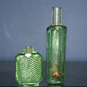 SALE Set of 2 Vintage Miniature Emerald Green Glass Perfume Bottles