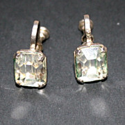 1940s Sterling Coro Craft Clear Stone Earrings