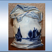 1800 Antique Delft Potbellied Sack Vase Sail Boat and Windmill