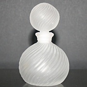 Round Swirl Ribbed Frosted Perfume Bottle and Stopper