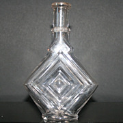 Early 1900s Diamond Shaped Bottle With Raised Edges Applied Lip