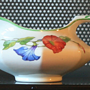 Vintage Pitcher Ostrow China Colorful Morning Glories 1930s