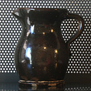 REDUCED Late 1800s Bennington Stoneware Pitcher Dark Brown