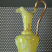 Vintage Blown Glass Ewer Pitcher Ponytail Handle Ruffle Lip