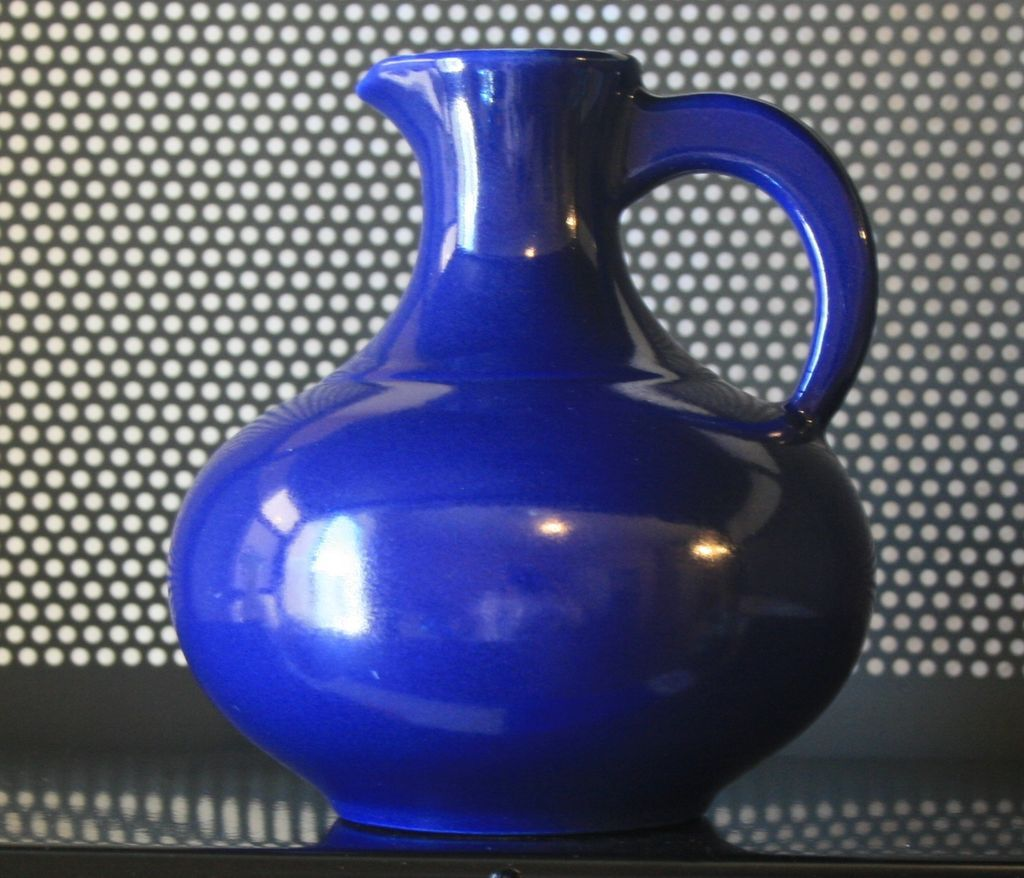 Vintage Cobalt Blue Globular Flared Rimed Jug Style Pitcher 1940s