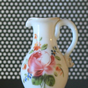 1910 Miniature Milk Glass Pitcher Blown Glass Hand Painted roses