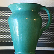 SALE Vintage Texas Stoneware Water Pitcher Green hand thrown