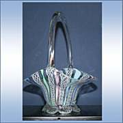 Latticino Ribbon Colorful Glass Basket