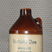 Vintage Kentucky Dew Shave Lotion Whiskey Stoneware Jug 1960s