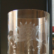 10 inch Vintage Vase  Heavy Glass Etched with Flowers and Leaves