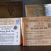 SALE WW 2 Ration Books for a Family of 4 household holder with books 1, 2, 3 and 4