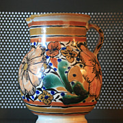 SALE 1920s Talavera Floral Pitcher Mexico