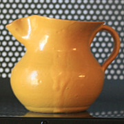 2 3/4 inch Vintage 1940s North Carolina pottery pitcher / creamer Yellow pinched