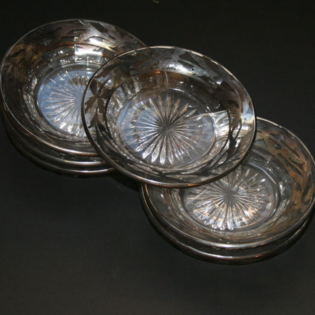 Set Of 6 Vintage Clear Glass Dishes Silver Overlay Trim Floral Star Cut Design