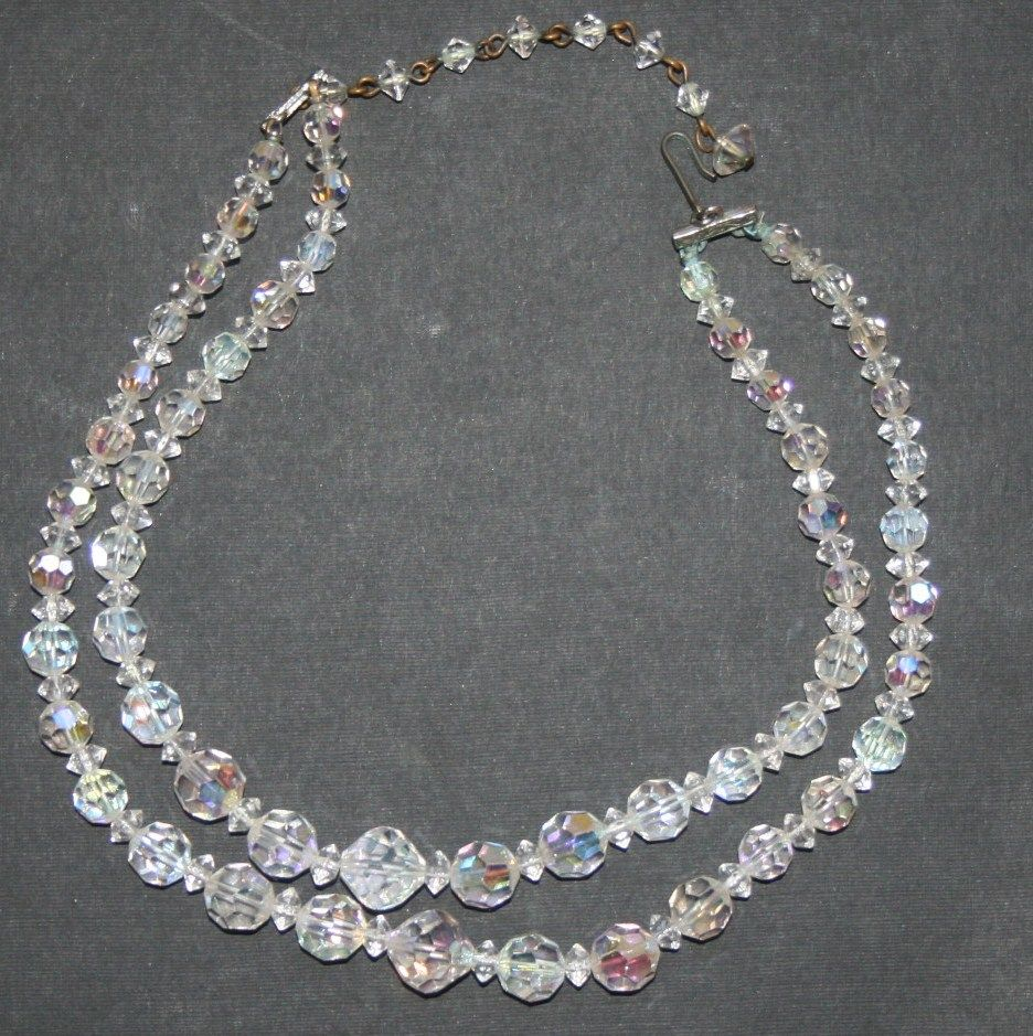 Vintage Aurora Borealis Crystal Bead Two Strand Necklace