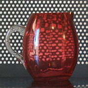 Vintage Blown Cranberry Glass barrel shaped Pitcher