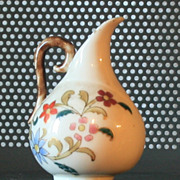 Vintage Pitcher Handpainted Early 1900s Tan with Flowers