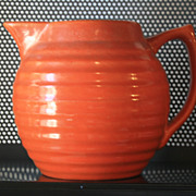 REDUCED Vintage Orange ribbed water pitcher