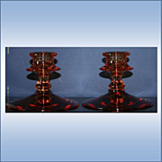 Pair of Vintage Amber Depression Glass Candle Holder