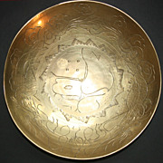 SOLD Early 1900s Brass Asian Etched Dragon Bowl Hand Made In China